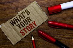 Word writing text What s is Your Story. Business concept for asking someone tell me about himself Share experience Pen pencil cap. Board marker pointer text stock images