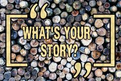 Word writing text What S Your Storyquestion. Business concept for Connect Communicate Connectivity Connection Wooden. Word writing text What S Your Storyquestion royalty free stock photography