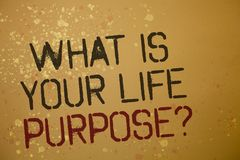 Word writing text What Is Your Life Purpose Question. Business concept for Personal Determination Aims Achieve Goal Ideas messages. Brown background splatters stock photography