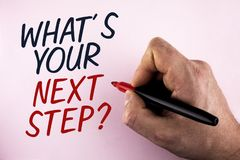 Word writing text What iS Your Next Step Question. Business concept for Analyse ask yourself before taking decisions written by Ma. N holding Marker in Hand stock image