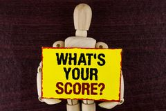 Word writing text What Is Your Score Question. Business concept for Tell Personal Individual Rating Average Results written on Sti. Word writing text What Is Stock Images