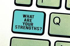 Word writing text What Are Your Strengthsquestion. Business concept for Tell us your best qualities skills Keyboard key. Intention to create computer message royalty free stock images