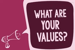 Word writing text What Are Your Values question. Business concept for asking someone about his good qualities Reporting thinking a vector illustration