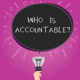 Word writing text Who Is Accountablequestion. Business concept for To be responsible or answerable for something Blank. Oval Color Speech Bubble Above a Broken royalty free illustration