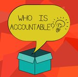 Word writing text Who Is Accountablequestion. Business concept for To be responsible or answerable for something Idea. Icon Inside Blank Halftone Speech Bubble royalty free illustration