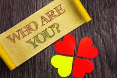 Word, writing, text Who Are You Question. Conceptual photo Personality Identity Profile, About Me Or You written on Sticky Note. Word, writing, text Who Are You royalty free stock photography