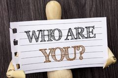 Word, writing, text Who Are You Question. Conceptual photo Personality Identity Profile, About Me Or You written on torn paper h. Word, writing, text Who Are You stock images