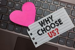 Word writing text Why Choose Us question. Business concept for Reasons for choosing our brand over others arguments Ashy computer royalty free stock photography