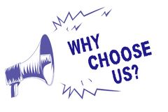 Word writing text Why Choose Us question. Business concept for Reasons for choosing our brand over others arguments Purple megapho. Ne loudspeaker important royalty free illustration
