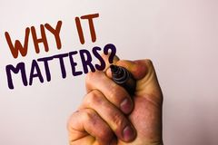 Word writing text Why It Matters Question. Business concept for Important Reasons to do something Motivation Goal Man holding pen. Pointing idea message black Royalty Free Stock Image