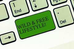 Word writing text Wild And Free Lifestyle. Business concept for Freedom natural way of living outdoor activities. Keyboard key Intention to create computer stock image