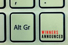 Word writing text Winners Announced. Business concept for Announcing who won the contest or any competition royalty free stock images
