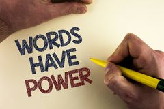 Word writing text Words Have Power. Business concept for Statements you say have the capacity to change your reality written by ma. N plain background holding royalty free stock photography