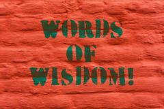 Word writing text Words Of Wisdom. Business concept for Expert advices orientation from somebody with knowledge Brick. Wall art like Graffiti motivational call stock photography