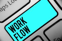 Word writing text Work Flow. Business concept for Continuity of a certain task to and from an office or employer Keyboard blue key. Intention create computer royalty free stock photos