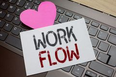 Word writing text Work Flow. Business concept for Continuity of a certain task to and from an office or employer Paper Romantic lo. Vely message Heart Keyboard royalty free stock photos