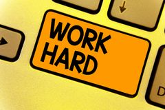 Word writing text Work Hard. Business concept for Laboring that puts effort into doing and completing tasks Keyboard yellow key In. Tention create computer royalty free stock photography