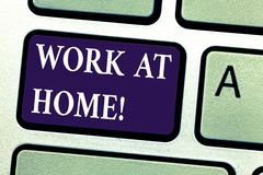 Word writing text Work At Home. Business concept for Freelance job working on your house convenient technology Keyboard. Key Intention to create computer stock photography