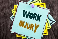 Word, writing, text  Work Injury. Business concept for Bad Body Accident As Emergency Protection written on Blue Sticky Note Paper. Word, writing, text  Work Royalty Free Stock Images