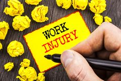 Word, writing, text  Work Injury. Business concept for Bad Body Accident As Emergency Protection written By Man Holding Marker on. Word, writing, text  Work Royalty Free Stock Images