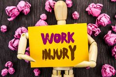 Word, writing, text  Work Injury. Conceptual photo Bad Body Accident As Emergency Protection written on Sticky Note Holding By Scu. Word, writing, text  Work Royalty Free Stock Photography