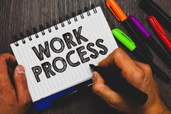Word writing text Work Process. Business concept for Standard procedures how to handle a particular job rules system Hand holding. Pen and paper sketch words stock image