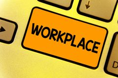 Word writing text Workplace. Business concept for Area where you can find busy people doing their job orders Keyboard royalty free stock photos