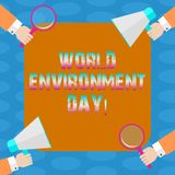 Word writing text World Environment Day. Business concept for awareness and the protection of our environment Hu analysis Hands. Each Holding Magnifying Glass vector illustration
