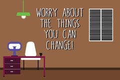 Word writing text Worry About The Things You Can Change. Business concept for Be in charge of possible actions Work. Space Minimalist Interior Computer and vector illustration