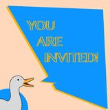 Word writing text You Are Invited. Business concept for Receiving and invitation for an event Join us to celebrate.