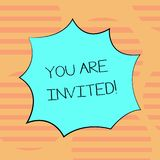 Word writing text You Are Invited. Business concept for Receiving and invitation for an event Join us to celebrate Blank
