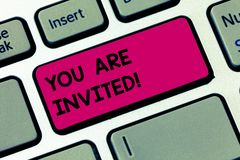 Word writing text You Are Invited. Business concept for Receiving and invitation for an event Join us to celebrate