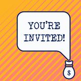 Word writing text You Re Invited. Business concept for You are happily encouraged to attend and event or a party Bag. Word writing text You Re Invited. Business vector illustration