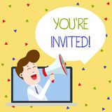Word writing text You Re Invited. Business concept for You are happily encouraged to attend and event or a party Man. Word writing text You Re Invited. Business royalty free illustration