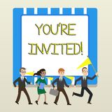 Word writing text You Re Invited. Business concept for You are happily encouraged to attend and event or a party People. Word writing text You Re Invited vector illustration