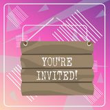Word writing text You Re Invited. Business concept for make a polite friendly request to someone go somewhere Hook Up. Word writing text You Re Invited. Business vector illustration
