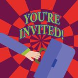 Word writing text You Re Invited. Business concept for make a polite friendly request to someone go somewhere Rushing. Word writing text You Re Invited. Business royalty free illustration