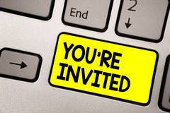 Word writing text You re are Invited. Business concept for Please join us in our celebration Welcome Be a guest Keyboard yellow ke. Y Intention create computer vector illustration