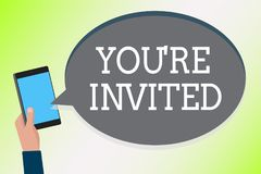 Word writing text You re are Invited. Business concept for Please join us in our celebration Welcome Be a guest Man holding cell p. Hone text chat message royalty free illustration