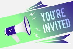 Word writing text You re are Invited. Business concept for Please join us in our celebration Welcome Be a guest Megaphone loudspea. Ker speech bubble important stock photos