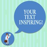 Word writing text Your Text Inspiring. Business concept for words make you feel exciting and strongly enthusiastic Man. In Necktie Carrying Briefcase Holding royalty free illustration