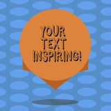 Word writing text Your Text Inspiring. Business concept for words make you feel exciting and strongly enthusiastic Blank. Color Circle Floating photo with stock illustration
