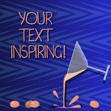 Word writing text Your Text Inspiring. Business concept for words make you feel exciting and strongly enthusiastic. Cocktail Wine Glass Pouring Liquid with royalty free illustration