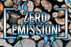 Word writing text Zero Emission. Business concept for Engine Motor Energy Source that emits no waste products Wooden background. Vintage wood wild message ideas stock photography