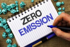 Word writing text Zero Emission. Business concept for Engine Motor Energy Source that emits no waste products written by Man Holdi. Ng Marker Notebook Book the Stock Photo