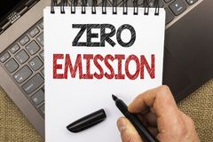 Word writing text Zero Emission. Business concept for Engine Motor Energy Source that emits no waste products written by Man Holdi. Ng Pen Notebook Book placed Stock Photography