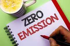 Word writing text Zero Emission. Business concept for Engine Motor Energy Source that emits no waste products written by Man on No. Word writing text Zero Royalty Free Stock Image