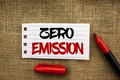 Word writing text Zero Emission. Business concept for Engine Motor Energy Source that emits no waste products written on Notebook. Word writing text Zero Royalty Free Stock Photo