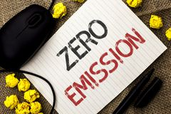 Word writing text Zero Emission. Business concept for Engine Motor Energy Source that emits no waste products written on Notebook. Word writing text Zero Royalty Free Stock Images