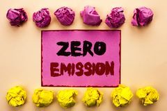 Word writing text Zero Emission. Business concept for Engine Motor Energy Source that emits no waste products written on Pink Stic. Word writing text Zero Royalty Free Stock Images